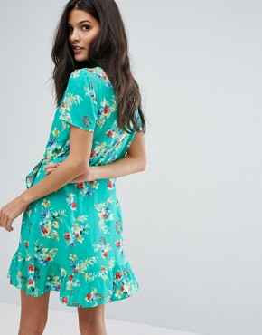 photo Wrap Front Floral Print Tea Dress by Mango, color Green - Image 2