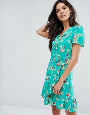 photo Wrap Front Floral Print Tea Dress by Mango, color Green - Image 1