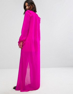 photo Silk Chiffon Maxi Dress in Bright Pink by Mango, color Pink - Image 2