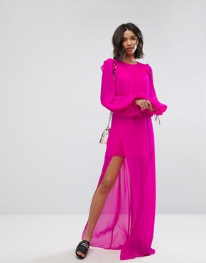 photo Silk Chiffon Maxi Dress in Bright Pink by Mango, color Pink - Image 1