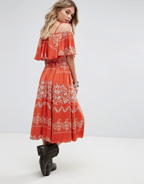 photo Jacqui Dress by Tularosa, color Red Floral Stripe - Image 2