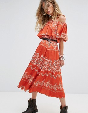 photo Jacqui Dress by Tularosa, color Red Floral Stripe - Image 1