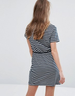 photo Stripe T-Shirt Dress with Drawstring Waist by Heartbreak, color Navy Stripe - Image 2