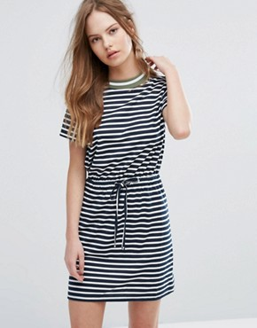 photo Stripe T-Shirt Dress with Drawstring Waist by Heartbreak, color Navy Stripe - Image 1