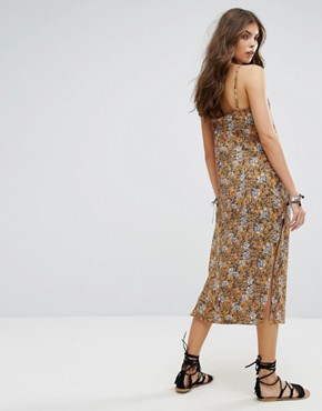 photo Floral Column Maxi Beach Dress by Lira, color Mustard - Image 2