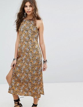 photo Floral Column Maxi Beach Dress by Lira, color Mustard - Image 1