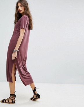 photo Maxi T-Shirt Beach Dress by Lira, color Burgundy - Image 2