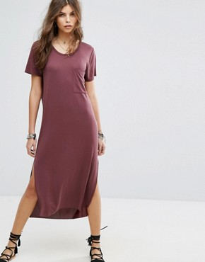 photo Maxi T-Shirt Beach Dress by Lira, color Burgundy - Image 1