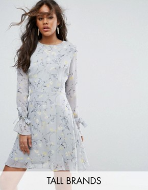 photo Allover Floral Ruffle Mini Dress with Hardware Trim Detail by Glamorous Tall, color Multi - Image 1