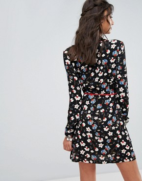 photo Wrapover Belted Tea Dress in Dark Floral Print by Glamorous Tall, color Multi - Image 2
