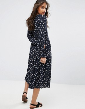 photo Lace Up Midi Skater Dress with Fluted Sleeves in All Over Floral Print by Glamorous Tall, color Multi - Image 2