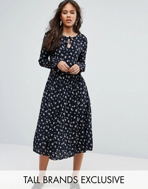 photo Lace Up Midi Skater Dress with Fluted Sleeves in All Over Floral Print by Glamorous Tall, color Multi - Image 1