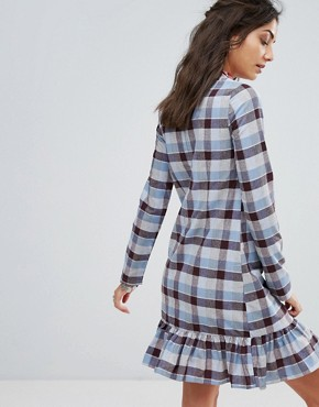 photo All Over Tartan Mini Dress with Ruffle Hem Detail by Glamorous Tall, color Tartan - Image 2