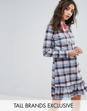 photo All Over Tartan Mini Dress with Ruffle Hem Detail by Glamorous Tall, color Tartan - Image 1