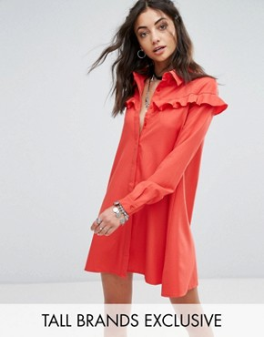 photo Shirt Dress with Frill Detail by Glamorous Tall, color Red - Image 1