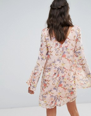 photo Button Front Dress in Floral Print by Glamorous Tall, color Multi - Image 2