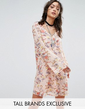 photo Button Front Dress in Floral Print by Glamorous Tall, color Multi - Image 1