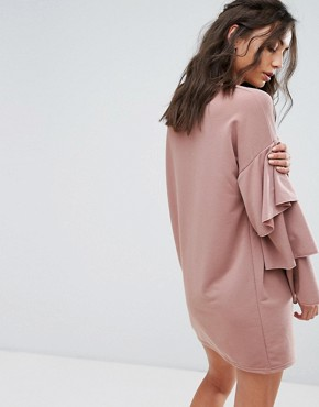 photo Sweat Dress with Double Ruffle Sleeve Detail by Glamorous Tall, color Mocha - Image 2