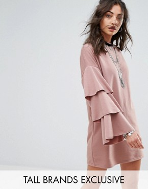 photo Sweat Dress with Double Ruffle Sleeve Detail by Glamorous Tall, color Mocha - Image 1