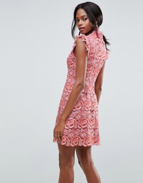 photo Lace Frill Sleeve Mini Dress by ASOS, color Pink - Image 2