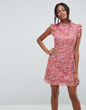 photo Lace Frill Sleeve Mini Dress by ASOS, color Pink - Image 1