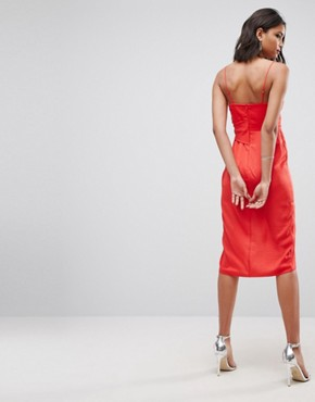 photo Hammered Satin Strappy Pencil Midi Dress by ASOS, color Bright Red - Image 2
