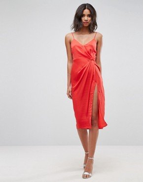 photo Hammered Satin Strappy Pencil Midi Dress by ASOS, color Bright Red - Image 1