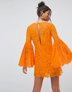 photo Lace Trumpet Sleeve Mini Dress by ASOS, color Bright Orange - Image 2