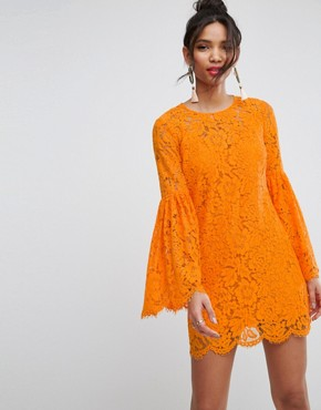 photo Lace Trumpet Sleeve Mini Dress by ASOS, color Bright Orange - Image 1