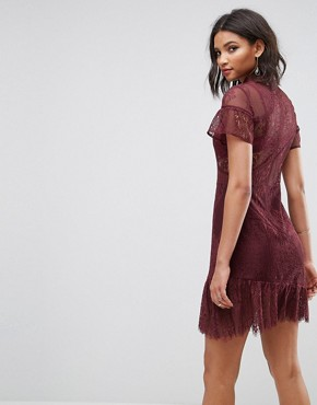 photo Delicate Patchwork Lace Mini Dress with Asymmetric Hem by ASOS, color Berry - Image 2