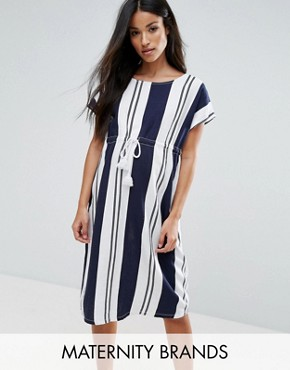 photo Striped Shift Dress with Drawstring Detail by Mamalicious, color Multi - Image 1