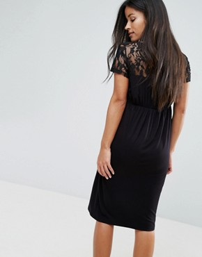 photo Dress with Lace Detail by Mamalicious, color Black - Image 2