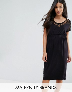photo Dress with Lace Detail by Mamalicious, color Black - Image 1