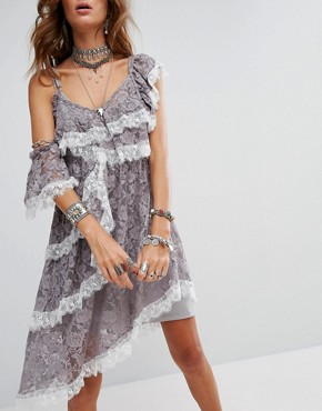 photo Cold Shoulder Slip Dress with Extreme Ruffle in Lace by Sacred Hawk Festival, color Grey - Image 2