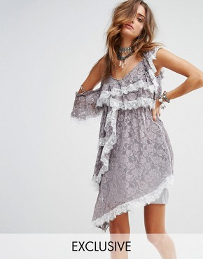 photo Cold Shoulder Slip Dress with Extreme Ruffle in Lace by Sacred Hawk Festival, color Grey - Image 1