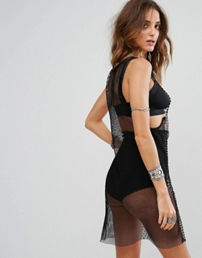 photo Vest Dress in Fishnet Mesh with Diamate Front Detail by Sacred Hawk Festival, color Black - Image 2