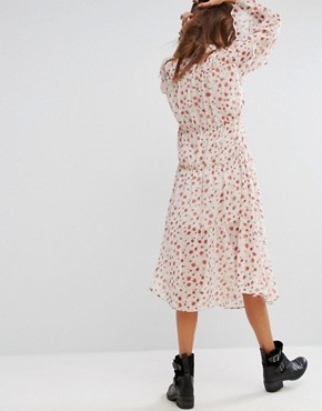 photo Midi Smock Dress with High Neck in Floral by Sacred Hawk, color White - Image 2