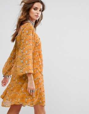 photo Smock Mini Dress in Romantic Floral by Sacred Hawk Festival, color Yellow - Image 2