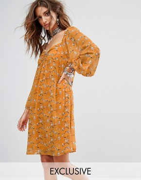 photo Smock Mini Dress in Romantic Floral by Sacred Hawk Festival, color Yellow - Image 1