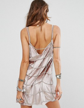 photo Metal Chain Grid Slip Dress by Sacred Hawk Festival, color Silver - Image 2