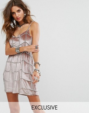 photo Metal Chain Grid Slip Dress by Sacred Hawk Festival, color Silver - Image 1