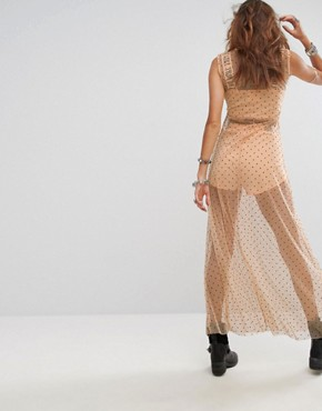 photo Sheer Spotty Maxi Dress with Bralet & Shorts by Sacred Hawk Festival, color Peach - Image 2