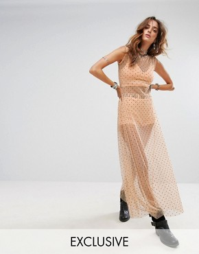 photo Sheer Spotty Maxi Dress with Bralet & Shorts by Sacred Hawk Festival, color Peach - Image 1