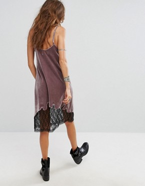 photo Velvet Cami Slip Dress with Lace Hem and Hell Slogan by Sacred Hawk Festival, color Purple - Image 2