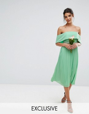 photo Bardot Midi Dress with Pleated Skirt and Embellished Waist by TFNC WEDDING, color Sage Green - Image 1