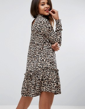 photo Mini Smock Dress with Pep Hem in Animal Print by ASOS TALL, color Multi - Image 2
