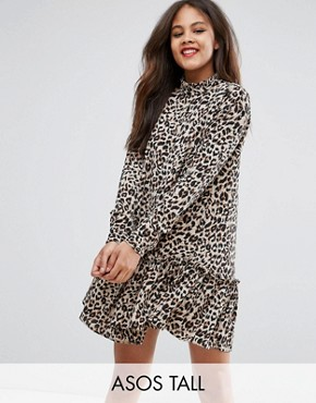photo Mini Smock Dress with Pep Hem in Animal Print by ASOS TALL, color Multi - Image 1