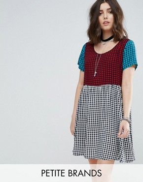 photo Mixed Tartan Mini Smock Dress by Glamorous Petite, color Tartan - Image 1