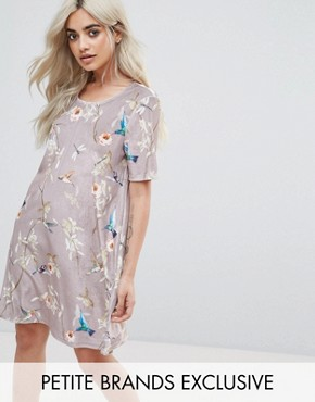 photo All Over Velvet Floral Mini Shift Dress by Glamorous Petite, color Multi - Image 1