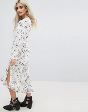 photo All Over Floral Maxi Dress with Asymmetric Hem Detail by Glamorous Petite, color Multi - Image 2